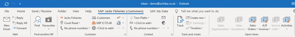 CRM for Outlook Ribbon
