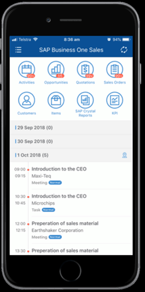 SAP B1 Sales mobile app